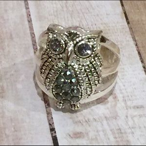 Jewelry - 🆓 Free w/Purch! Owl Marcasite Crystal Ring 7 1/4